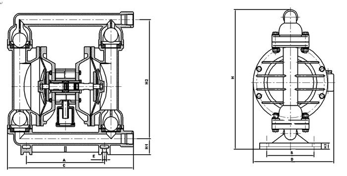 衬四氟气动隔膜泵产品结构图